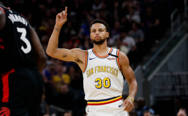 SAN FRANCISCO, CALIFORNIA - MARCH 5: Golden State Warriors' Stephen Curry (30) celebrates after scoring his first three-point-shot of the night during the second quarter of his teams game versus the Toronto Raptors at Chase Center in San Francisco on Thursday, March 5, 2020. (Randy Vazquez / Bay Area News Group)